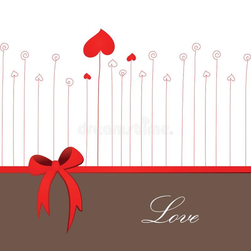 Retro scheda per il giorno del biglietto di S. Valentino o di cerimonia nuziale illustrazione vettoriale
