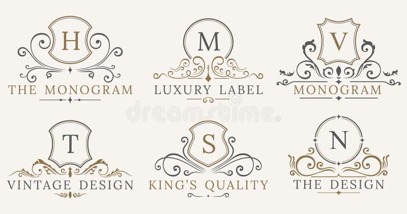 Retro schermi d'annata reali Elementi di lusso di progettazione di logo di vettore Segni di affari, identità, distintivi royalty illustrazione gratis