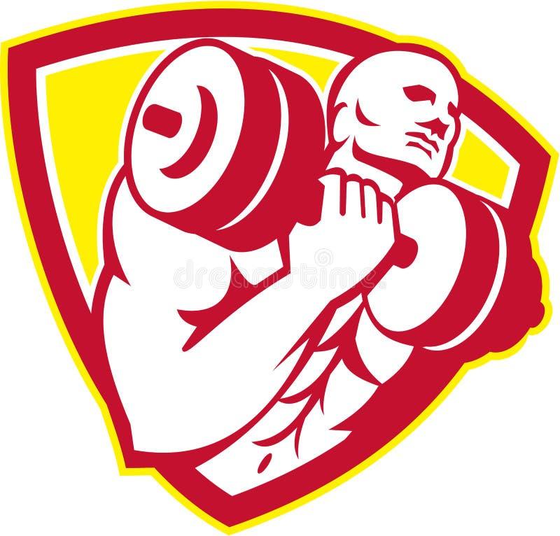 Retro Schild van de bodybuilder het Opheffende Domoor stock illustratie