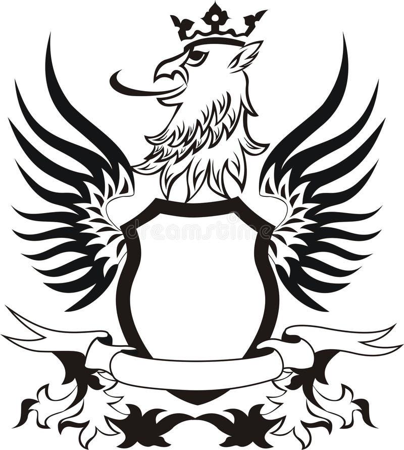 Retro schild van Grunge met griffonhoofd stock illustratie
