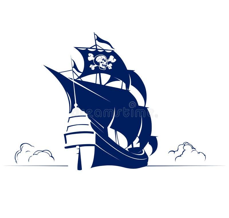 Retro schip van de piraat met schedel en beenderenvlag royalty-vrije illustratie