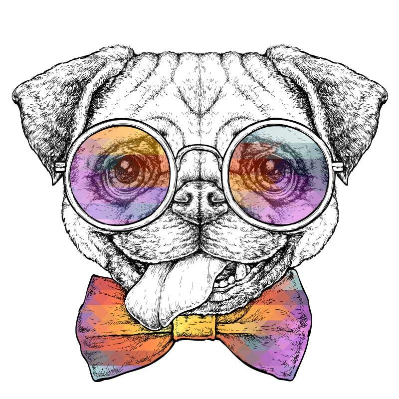 Retro schizzo d'annata disegnato a mano di stile dei pantaloni a vita bassa del cane divertente sveglio del carlino in vetri Illu illustrazione vettoriale