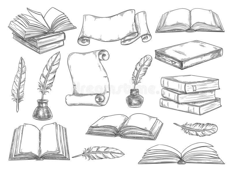 Retro schizzo di vettore delle spolette della letteratura e dei libri royalty illustrazione gratis