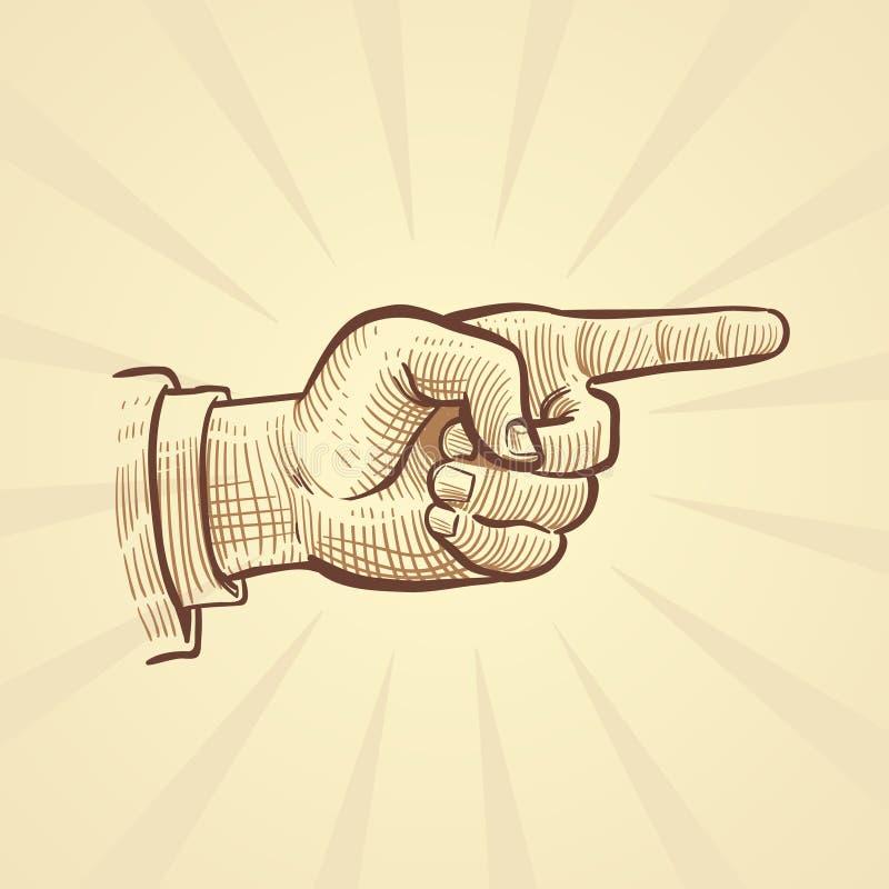 Retro schizzo disegnato a mano che indica l'illustrazione di vettore del dito illustrazione vettoriale