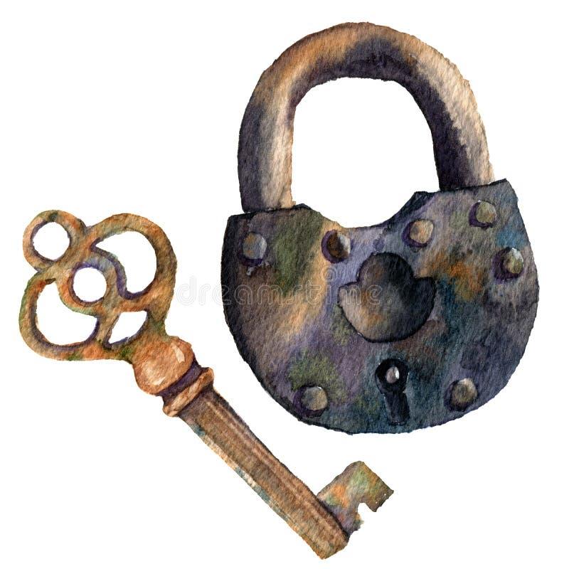 Retro- Schlüssel und Vorhängeschloß des Aquarells Handgemalte Weinleseillustration lokalisiert auf weißem Hintergrund Für Design, stock abbildung