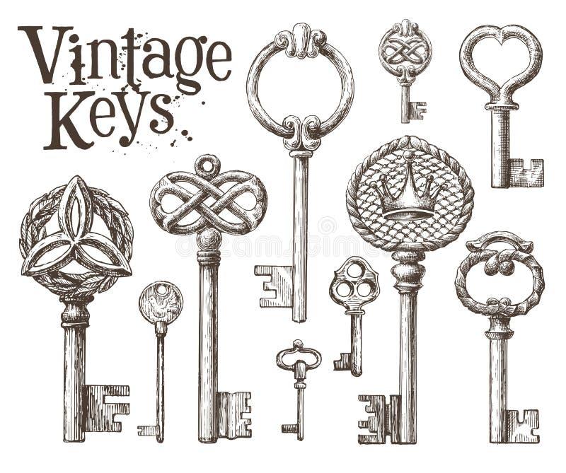 Retro- Schlüsselvektorlogo-Designschablone Antiquitäten oder stock abbildung