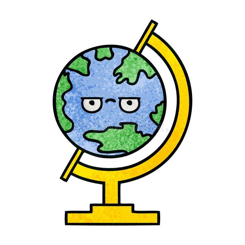 Retro- Schmutzbeschaffenheits-Karikaturkugel der Welt stock abbildung