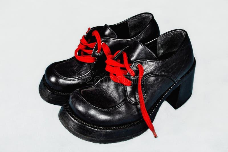 Retro schoenen van de platform hoge hiel royalty-vrije stock afbeelding
