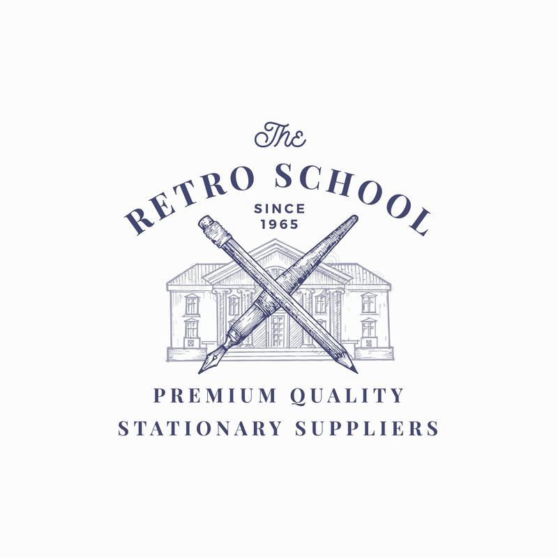 The Retro School Suppliers Abstract Vector Sign, Symbol or Logo Template. Knowledge Building with Crossed Pen and Pencil stock illustration