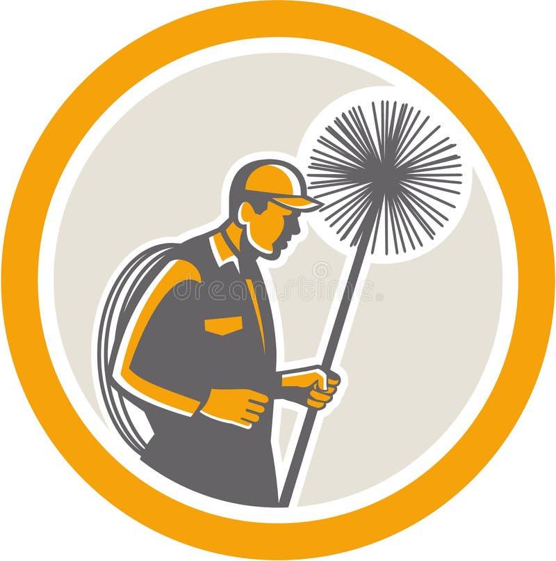 Retro Schoorsteenvegerarbeider stock illustratie