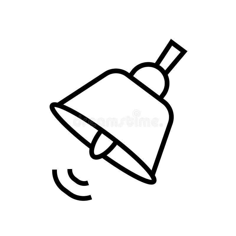 Retro- Schulglockeikonenvektor herein lokalisiert auf weißem Hintergrund, Retro- Schulglockezeichen, linearem Symbol und Anschlag vektor abbildung
