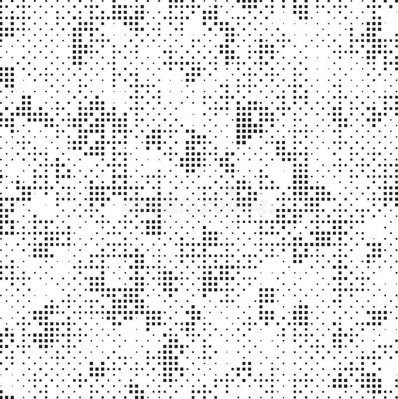 Retro- Schwarzweiss-Halbtonquadrat-Dots Mess Concept Background Pattern-Beschaffenheit stock abbildung