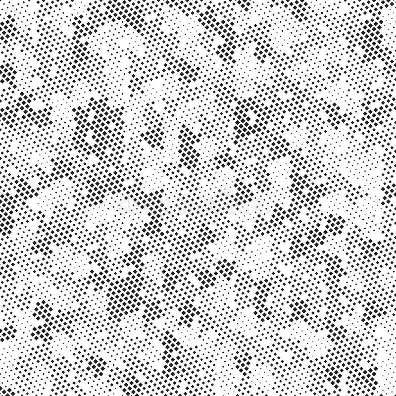 Retro- Schwarzweiss-Halbtonquadrat-Dots Mess Concept Background Pattern-Beschaffenheit lizenzfreie abbildung