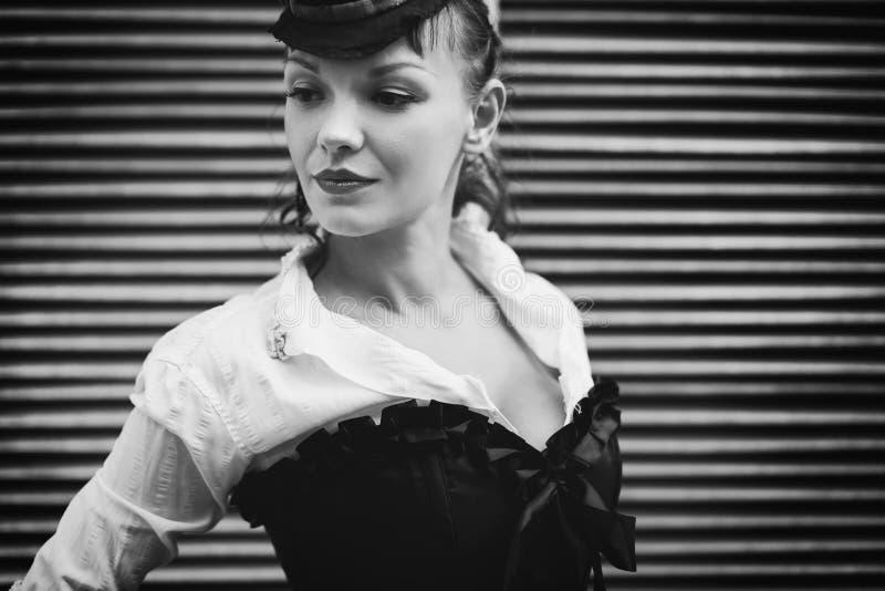 Retro- Schwarzweiss-Portrait lizenzfreies stockfoto