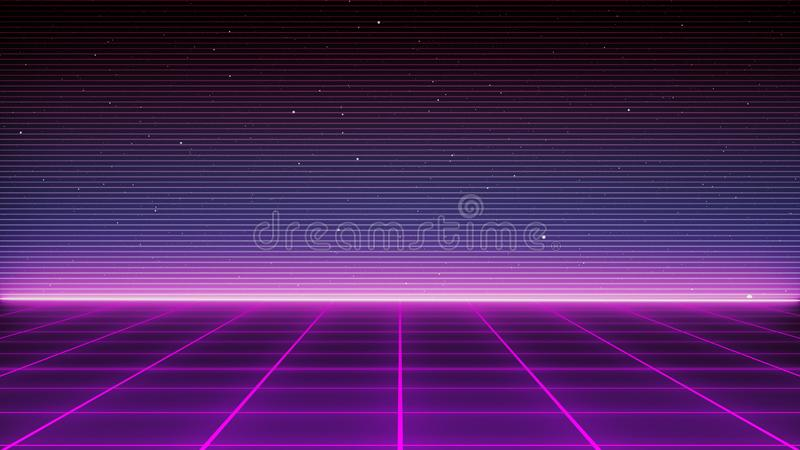 Retro Sci-Fi Background Futuristic landscape of the 80`s. Digital Cyber Surface. Suitable for design in the style of the 1980`s royalty free illustration