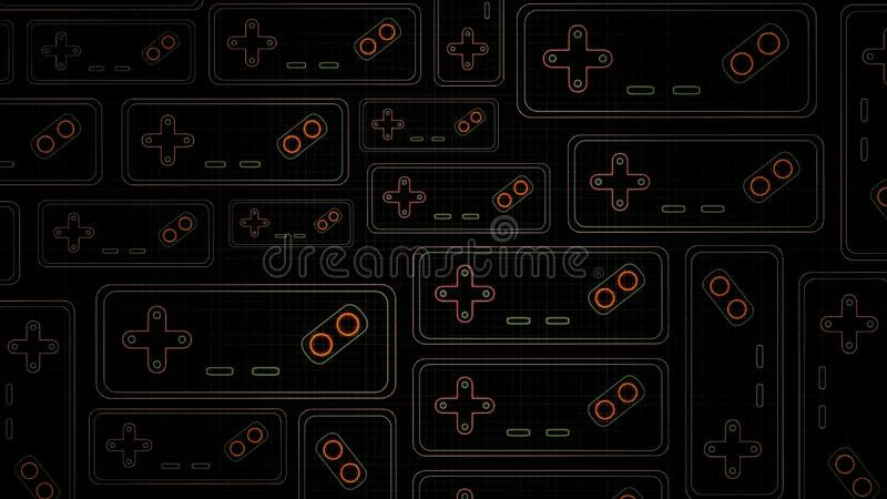 Retro Sci-Fi Background. Neon sign of Game Controller of the 80`s. Futuristic design in the style of the 1980`s. Concept of gaming royalty free illustration