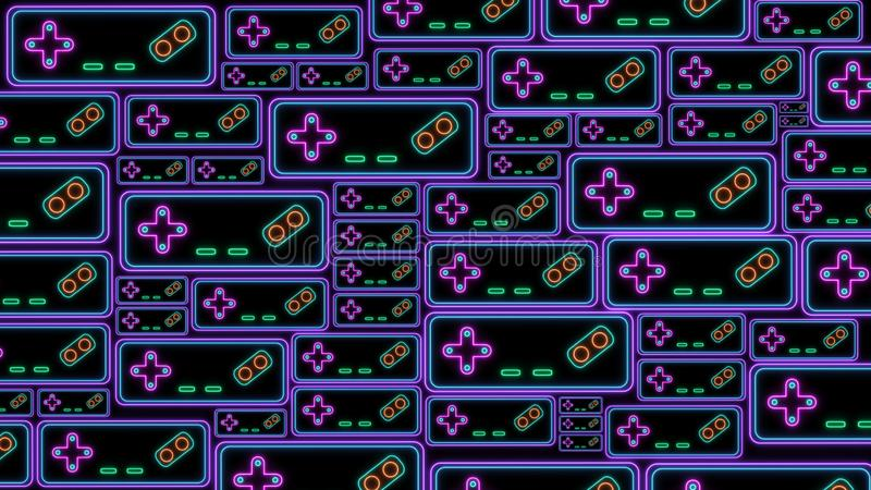 Retro Sci-Fi Background. Neon sign of Game Controller of the 80`s. Futuristic design in the style of the 1980`s. Concept of gaming stock illustration