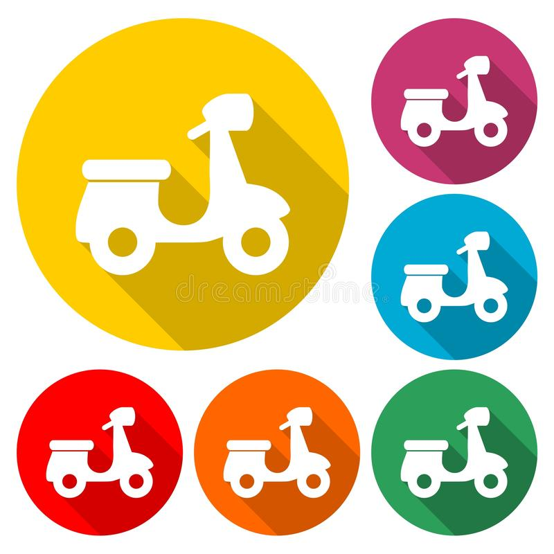Retro Scooter Silhouette icon or logo, color set with long shadow. On white stock illustration