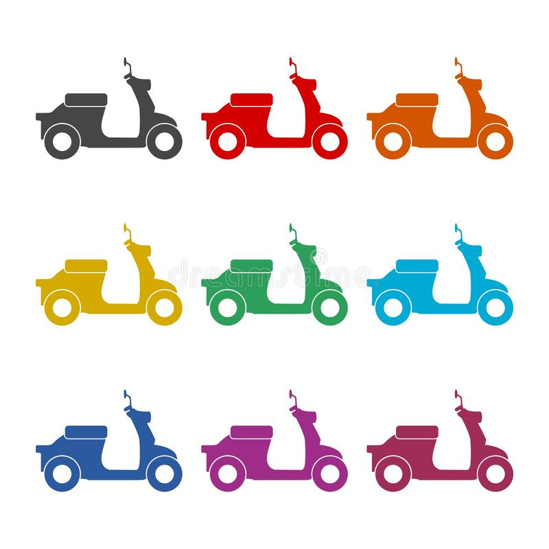 Retro Scooter Silhouette icon or logo, color set. On white royalty free illustration