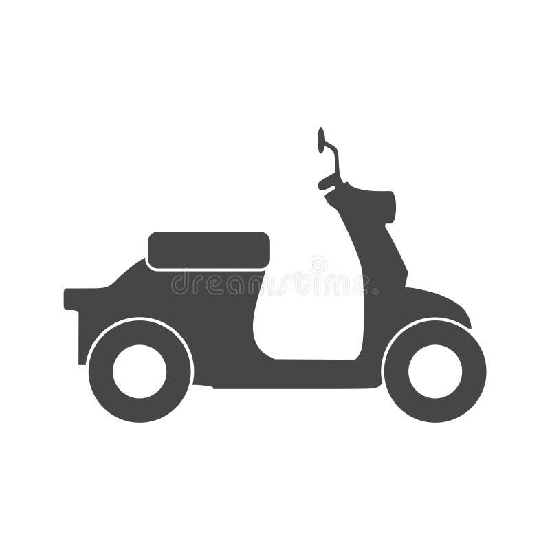 Retro Scooter Silhouette icon. On white background stock illustration