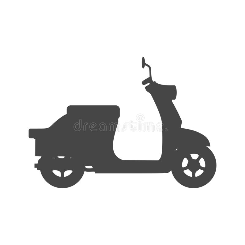 Retro Scooter Silhouette icon. On white background vector illustration