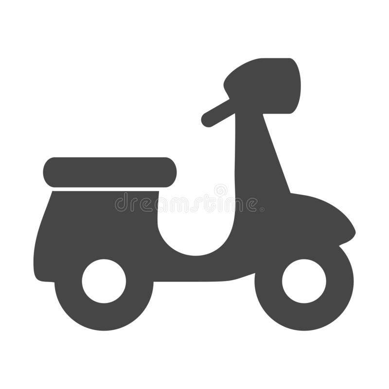 Retro Scooter Silhouette icon. On white background royalty free illustration
