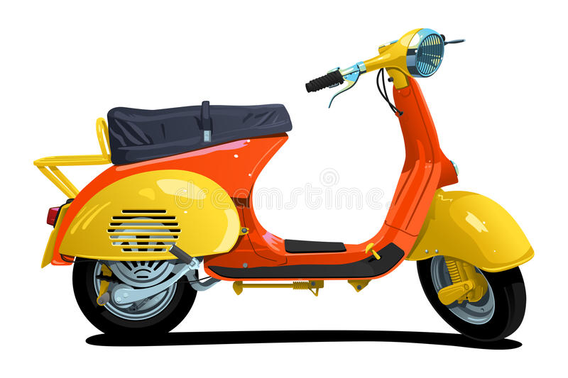 Retro scooter. Vector color illustration of scooter. Simple gradients only - no gradient mesh vector illustration
