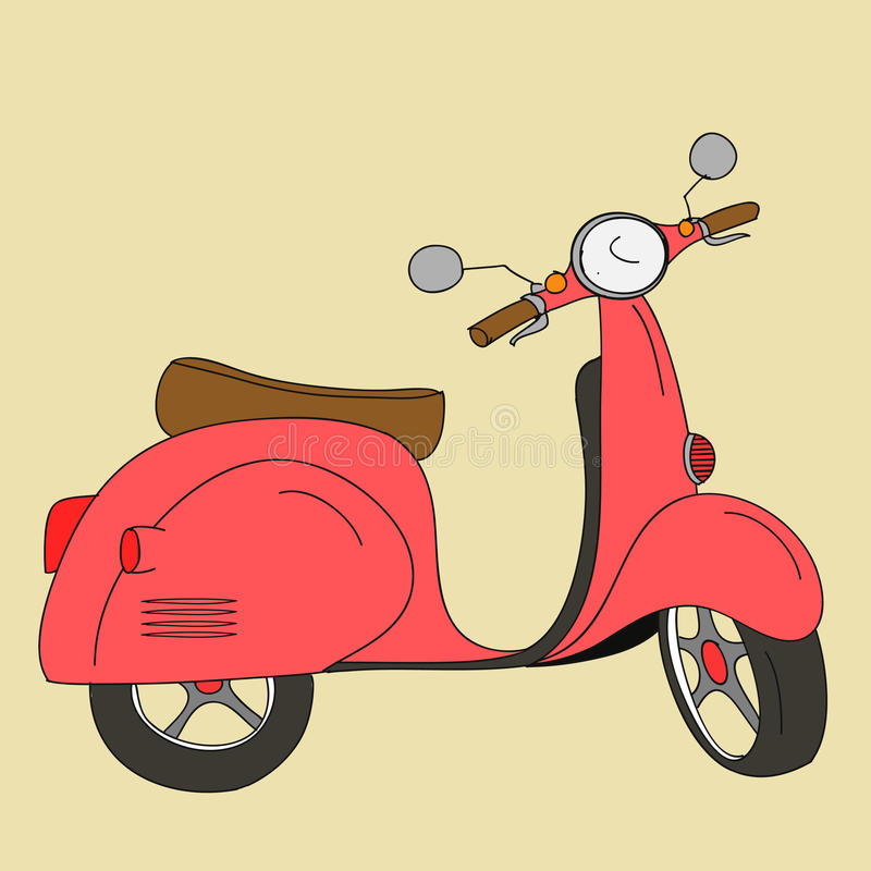 Retro scooter. Vector hand drawn retro scooter in colour royalty free illustration