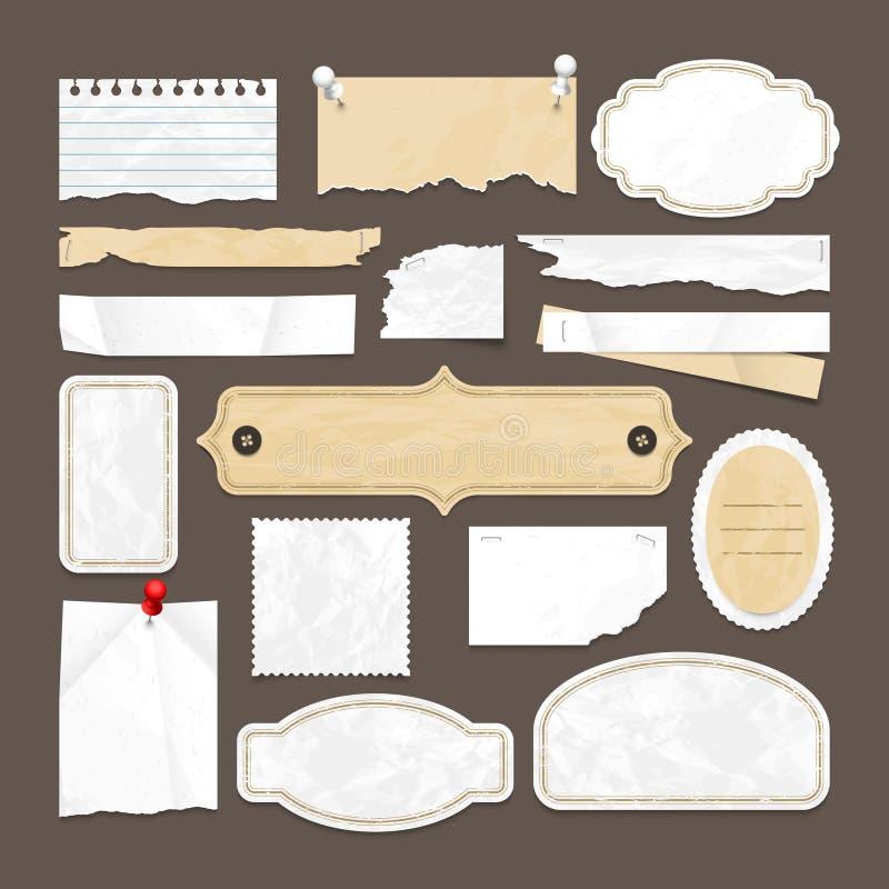 Retro scrapbooking wektorowa kolekcja z starym papierem, odznakami i wizerunek ramami, ilustracja wektor