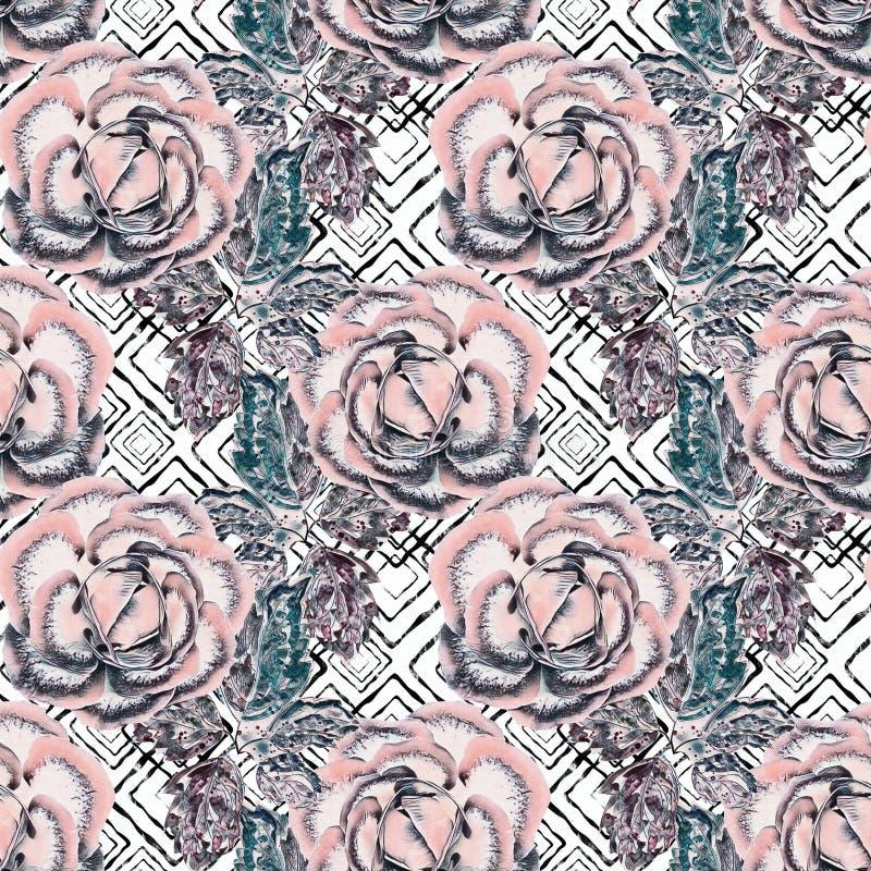 retro seamless för blom- modell Rosa rosor på svartvit bakgrund vektor illustrationer