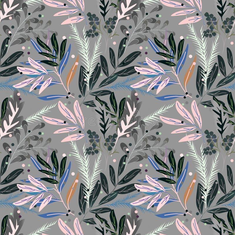 retro seamless för blom- modell Sidor ris på en grå bakgrund royaltyfri illustrationer