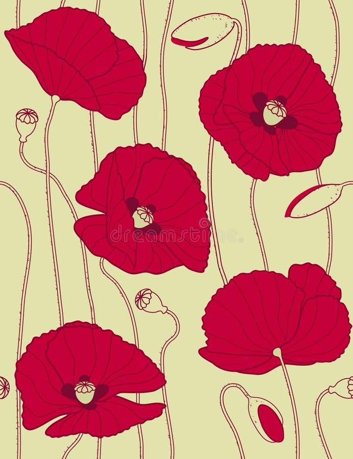 retro seamless för blom- modellpopies vektor illustrationer