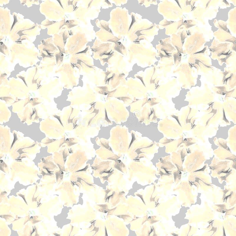 retro seamless f?r blom- modell Gula blommor på ett ljust - grå bakgrund stock illustrationer