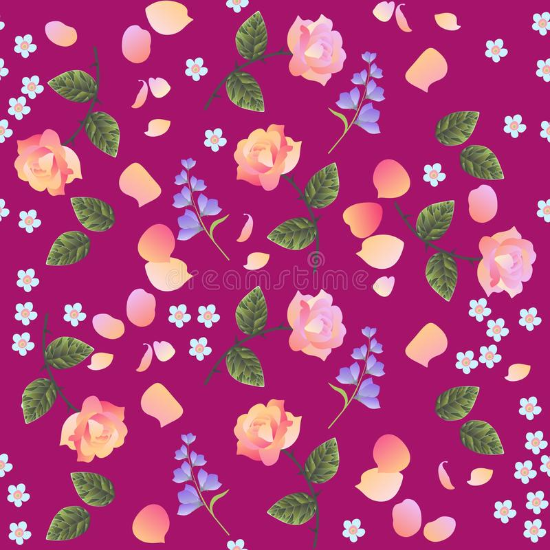 Retro seamless floral pattern with pink and light orange roses, forget me not and bell flowers, isolated on purple background. vector illustration