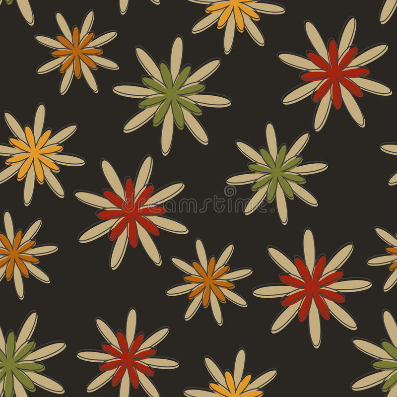 Download Retro Seamless Flower Background Dark Stock Vector - Image: 26448434