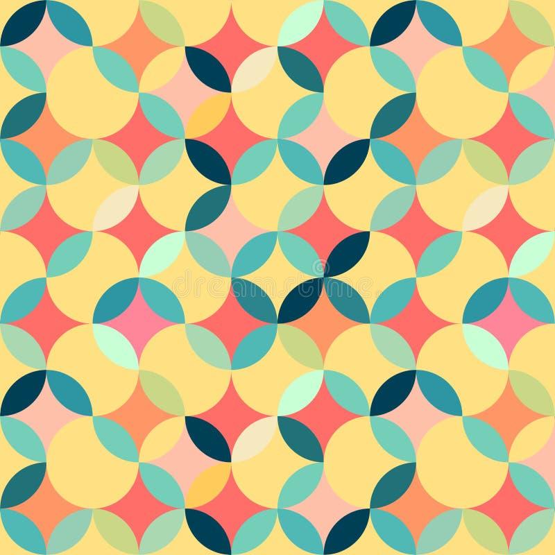 Retro seamless geometric pattern. Circle designed stock illustration