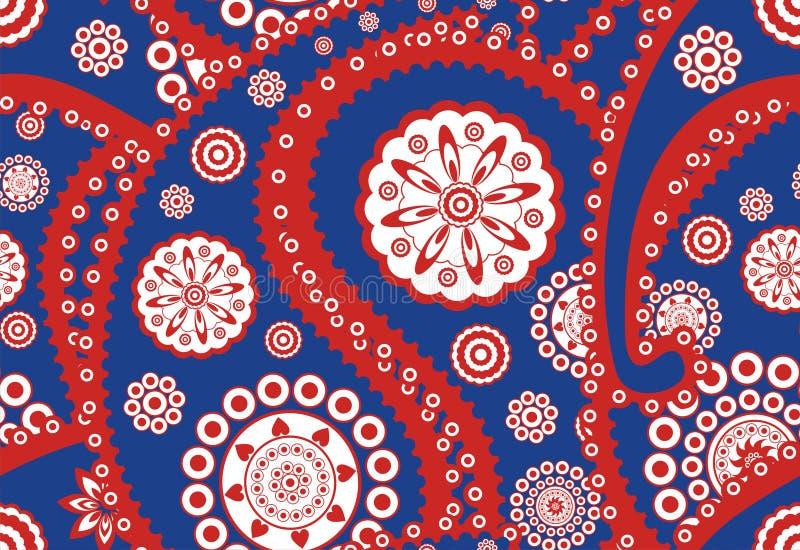 Retro seamless paisley (turkish cucumber) pattern vector illustration