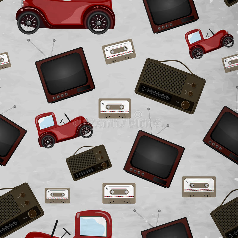 Retro seamless patter design. Seamless pattern with retro television, cassette and jeep royalty free illustration
