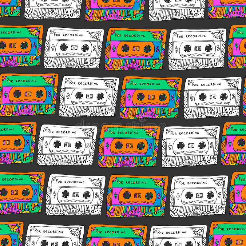 Retro seamless pattern with cassettes. Hipster fun style. Doodle musical background for wrapping, fabric, textile. Hippie colors. Vector design vector illustration