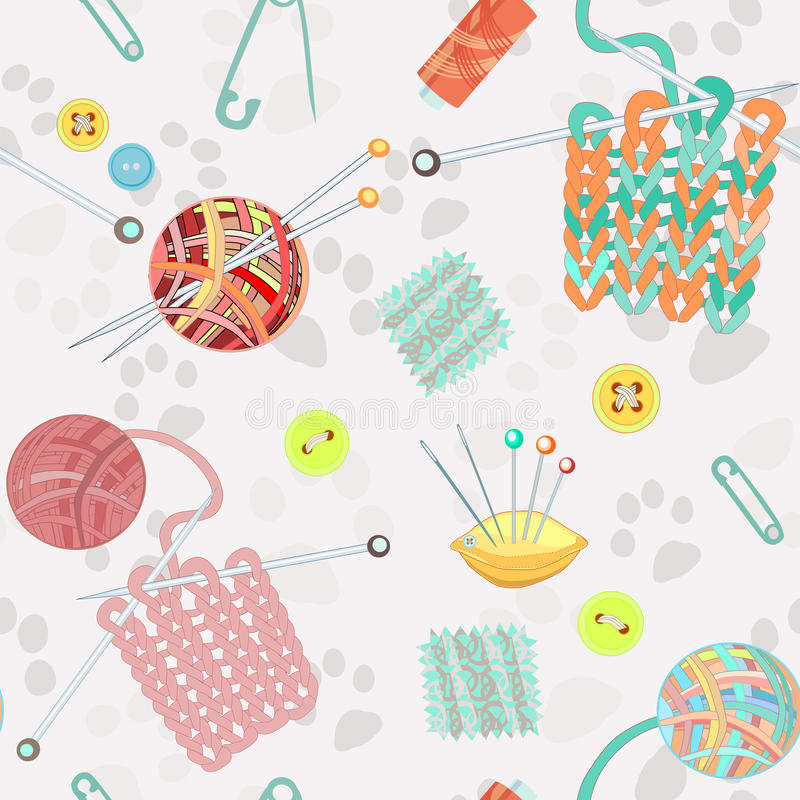 Retro seamless pattern with knitting accessories. Retro seamless pattern with hand drawn knitting accessories. Vector illustration royalty free illustration