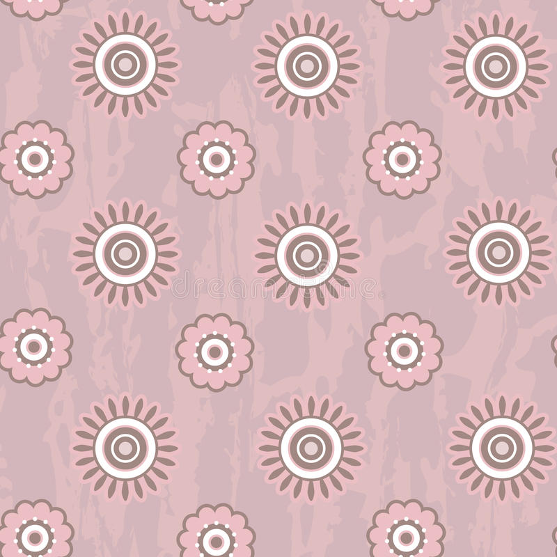 Retro seamless pattern with round flowers stock illustration