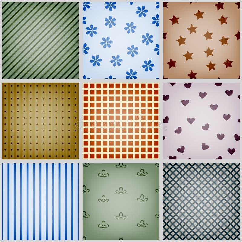 retro seamless patterns vector illustration