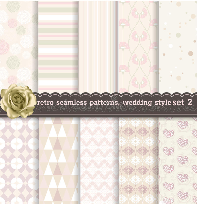 Retro seamless patterns wedding style 2 royalty free illustration