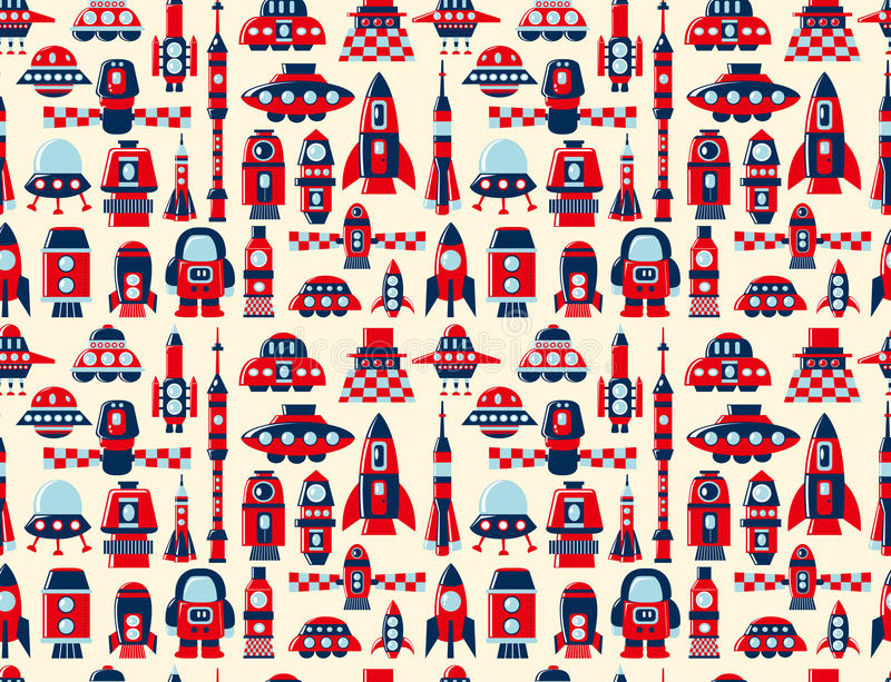 Download Retro Seamless Rocket Pattern Stock Vector - Image: 29359382