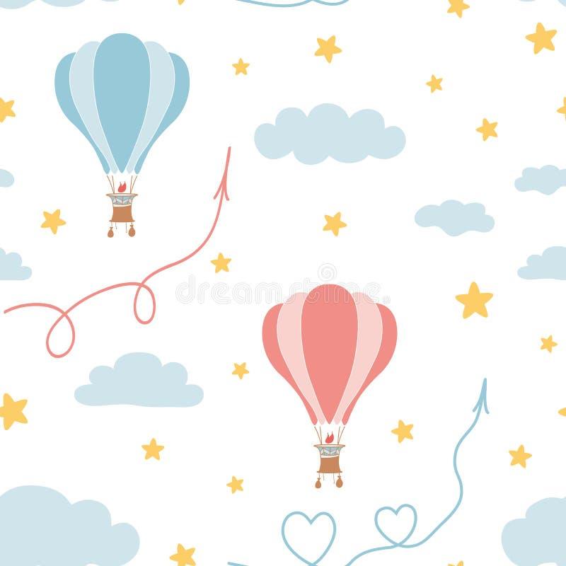 Retro seamless travel pattern of air balloons, sky, stars. Kids fabric textile design royalty free illustration