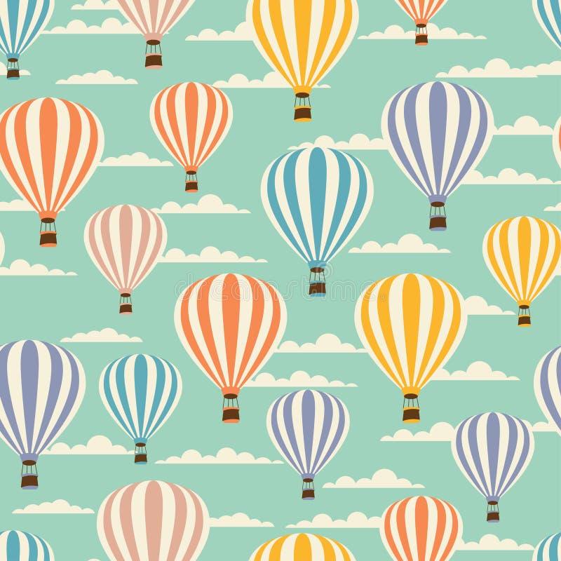Retro seamless travel pattern of balloons stock illustration