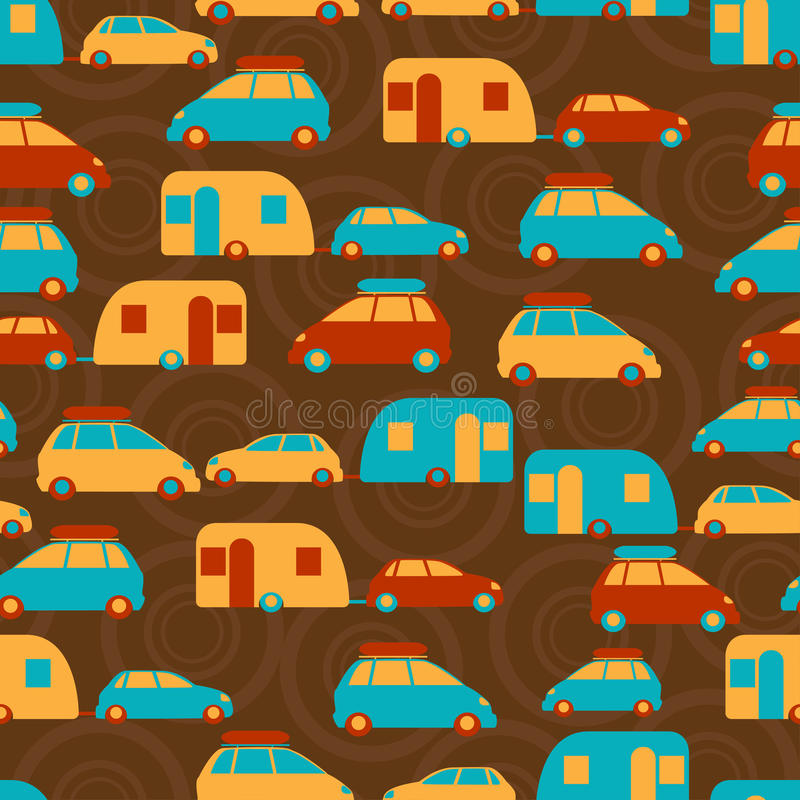 Retro seamless travel pattern of cars stock illustration