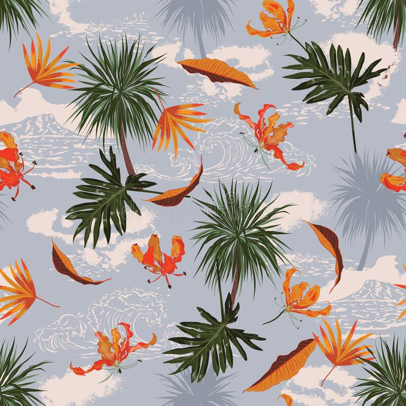 Free Retro Seamless Tropical Island Pattern On Light Blue Ocean Background. Landscape With Palm Trees,beach, Waves ,ocean Vector Hand Royalty Free Stock Photo - 220553125