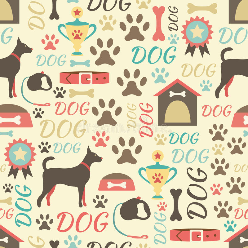Retro seamless vector pattern of dog icons. vector illustration