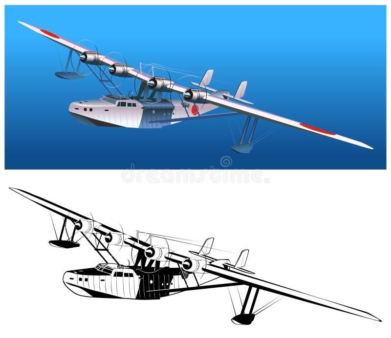 retro seaplanevektor royaltyfri illustrationer